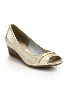 Cole Haan Tali Open-Toe Low-Heeled Metallic Leather Wedges