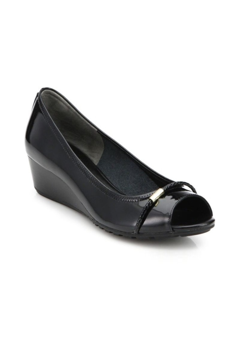 Cole Haan Tali Open-Toe Low-Heeled Patent Leather Wedges