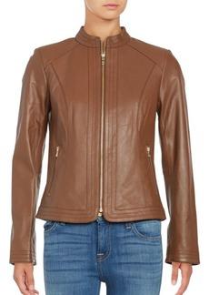 Cole Haan Trapunto Paneled Nappa Leather Jacket