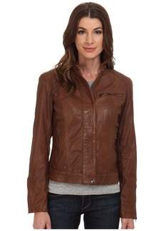 Cole Haan Washed Leather Racer Jacket