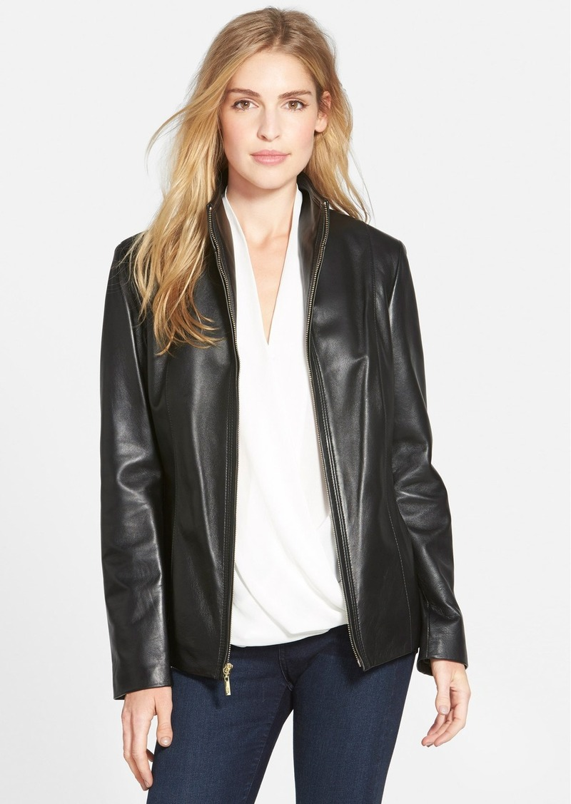 Cole Haan Wing Collar Lambskin Leather Jacket