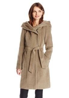 Cole Haan Women's Alpaca Wool Belted Wrap Coat with Hood