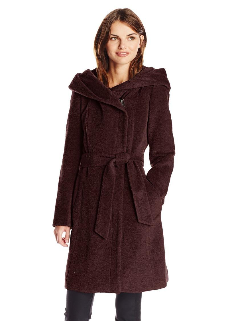 Cole Haan Cole Haan Women's Alpaca Wool Belted Wrap Coat with Hood ...