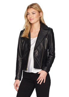 Cole Haan Women's Asymmetrical Leather Moto Jacket