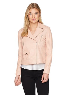 Cole Haan Women's Asymmetrical Leather Moto Jacket  Extra Large