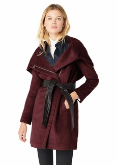 Cole Haan Women's Belted Asymmetrical Wool Coat bordeaux