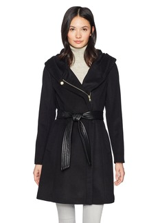 Cole Haan Women's Belted Asymmetrical Wool Coat With Oversized Hood