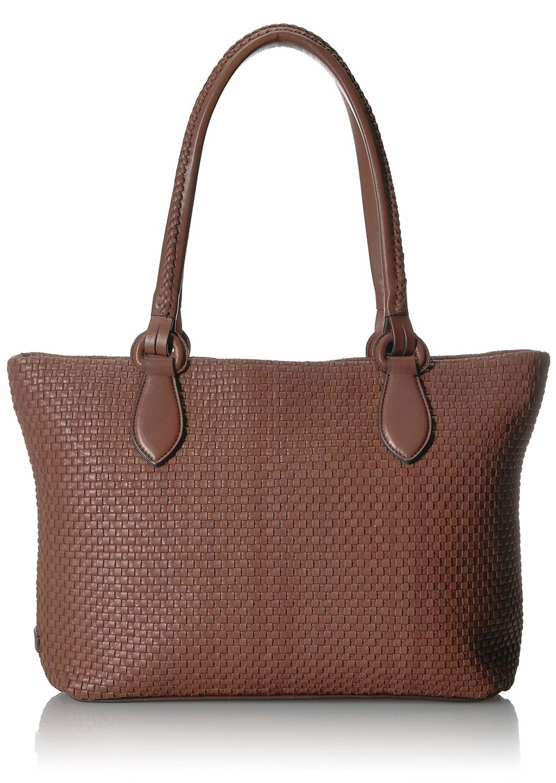Cole Haan Women's Bethany Woven Leather Zip Tote sequoia