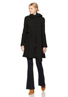 Cole Haan Women's Boiled Wool Belted Coat with Attached Self Fabric Scarf