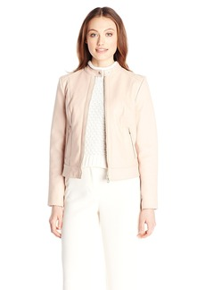 Cole Haan Women's Bonded Leather Jacket with Stand Collar with Jersey Lining