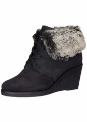 Cole Haan Womens Coralie Wedge Waterproof Bootie 85mm 7.5 Black Waterproof Suede-Faux Fur