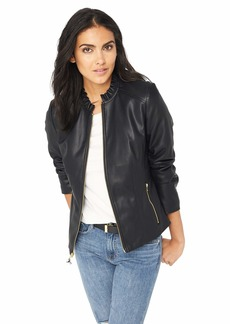 Cole Haan Women's Faux Leather Ruffle Collar Jacket