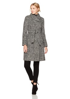 Cole Haan Women's Faux Striccato Wool Belted Asymmetrical Coat