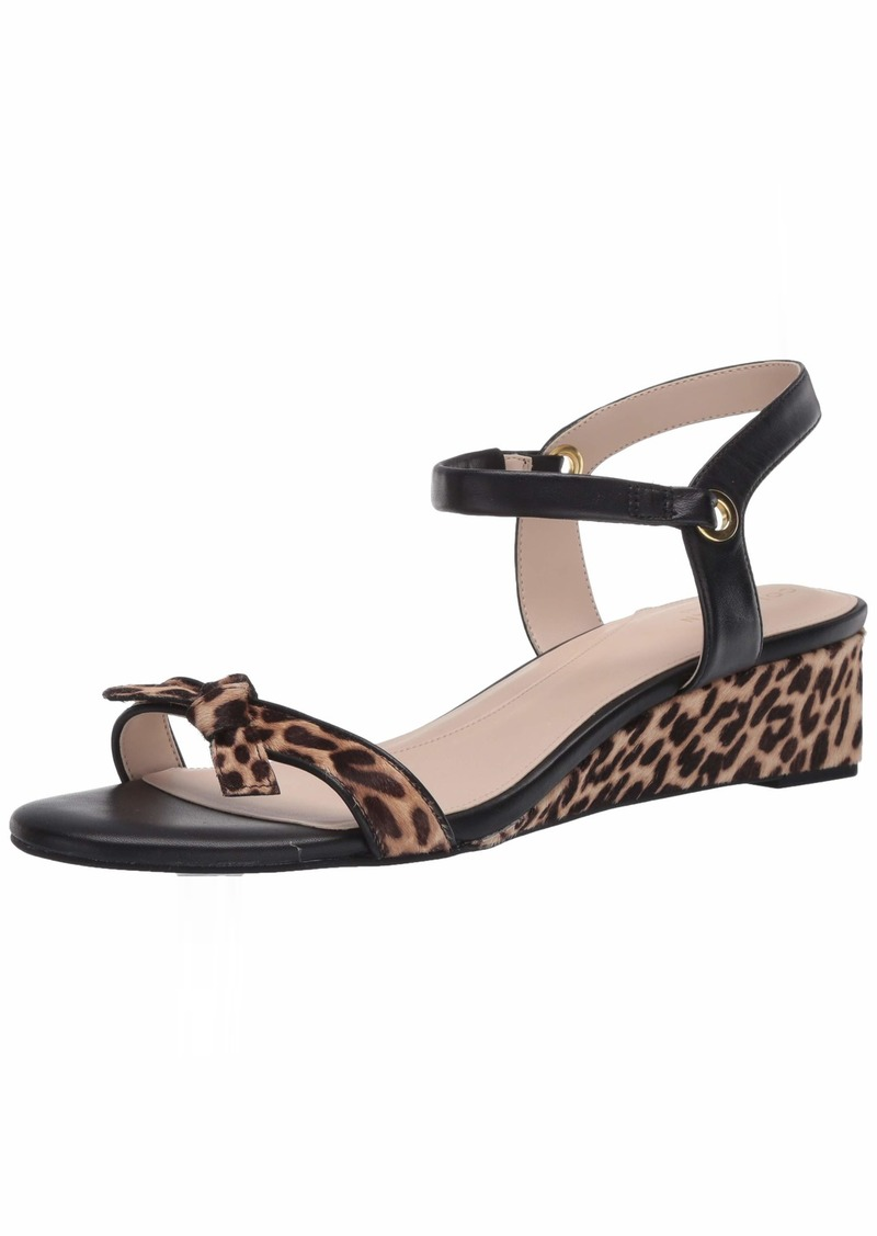Cole Haan Women's Halsey Wedge Sandal (40MM) Pump MINI OMBRE CHEETAH PRINT HAIR CALF/CH NUDE & BLACK LEATHER BRUSHED GOLD HW  M US