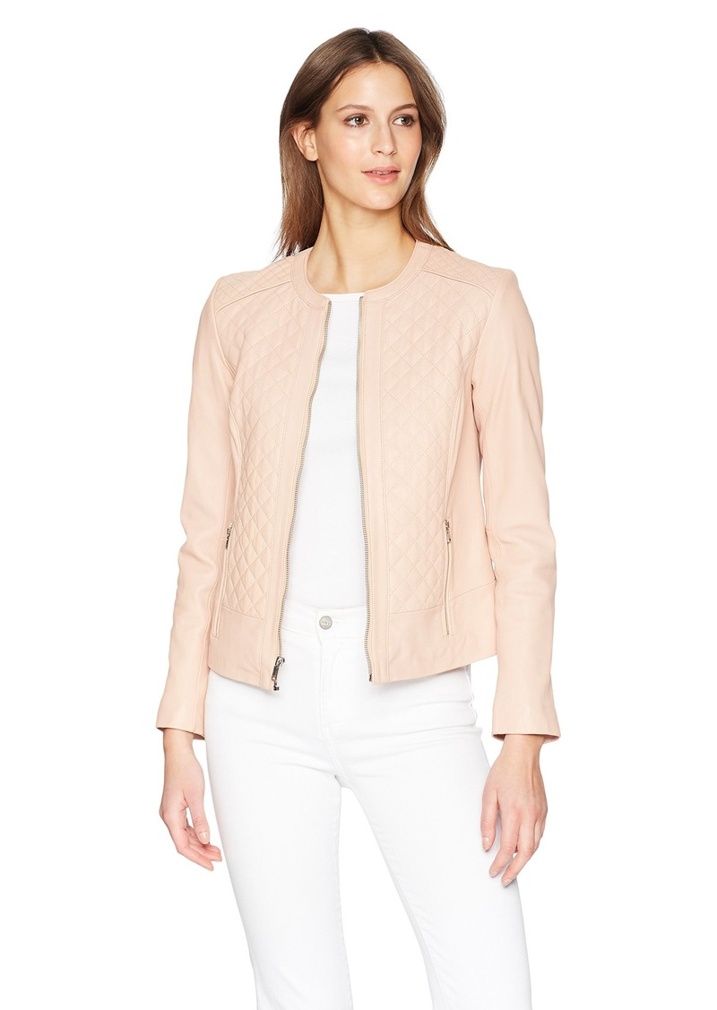 Cole Haan Cole Haan Womens Jewel Neck Quilted Leather Jacket