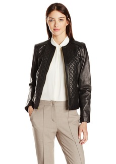 Cole Haan Women's Jewel Neck Quilted Leather Jacket  XS