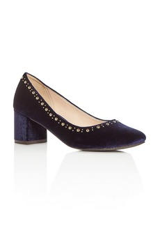Cole Haan Women's Justine Embellished Velvet Block Heel Pumps