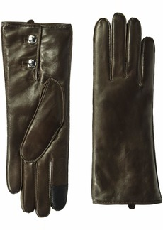 Cole Haan Women's Lambskin Leather Gloves with Buttons mahogany S