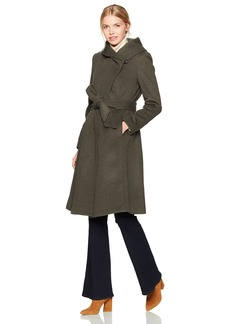 Cole Haan Women's Luxury Wool Asymmetrical Coat with Oversized Shawl Collar
