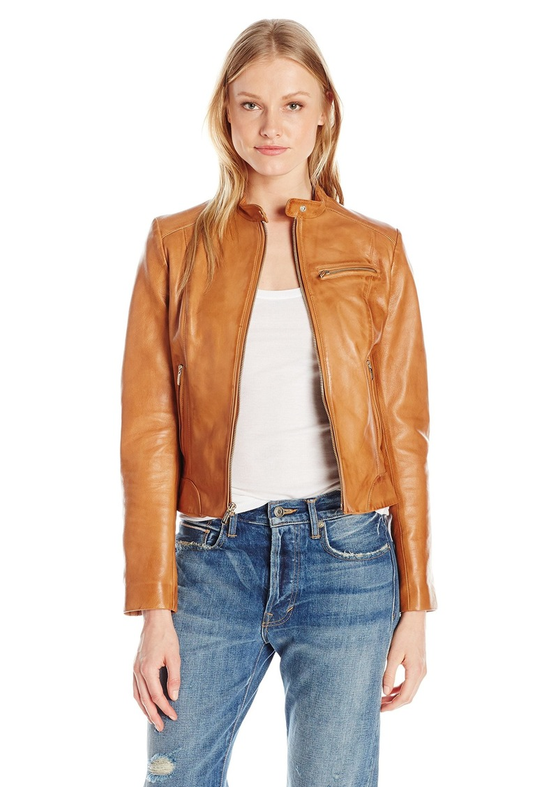 Cole Haan Women's Moto Inspired Leather Jacket  L