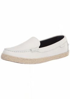 Cole Haan Women's Nantucket Espadrille Loafer Flat Optic White Pebbled Leather/Natural Jute