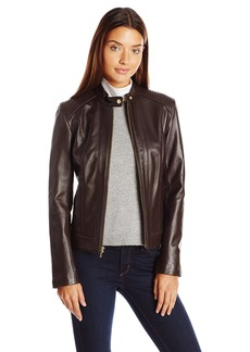 Cole Haan Women's Racer Jacket with Quilted Panels