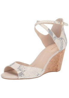 Cole Haan Women's Sadie Grand Open Toe Sandal 75MM Pump Pump Ivory And Grey Roccia Print Leather/Cork Wedge