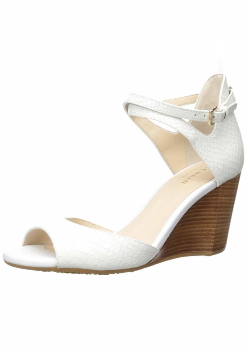 Cole Haan Women's Sadie Grand Open Toe Sandal 75MM Pump Pump Optic White Snake / Optic White Leather / NAT. Semishine Wedge