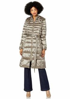 Cole Haan Women's Sateen Faux Down Belted Coat  L