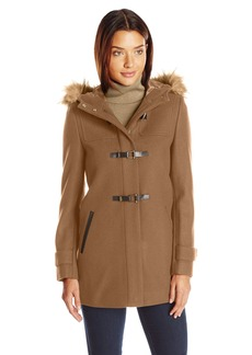 Cole Haan Women's Signature Duffle Coat with Faux Fur Lined Hood