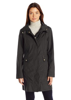 Cole Haan Women's Single Breasted Packable Rain Jacket with Removable Hood  L
