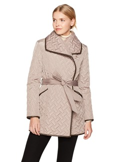 Cole Haan Women's Signature Quilted Belted Wrap Coat with Pu Details  L