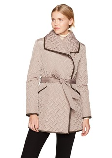 Cole Haan Women's Signature Quilted Belted Wrap Coat with Pu Details  S