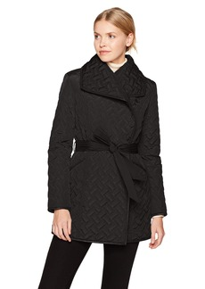 Cole Haan Women's Signature Quilted Belted Wrap Coat With PU Details  XS