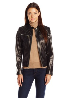 Cole Haan Women's Single Breasted Moto Jacket With Quilting Details