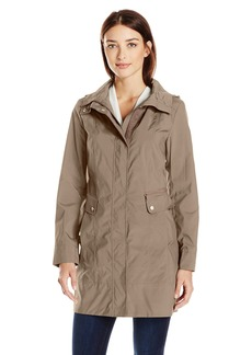 Cole Haan Women's Single Breasted Packable Rain Jacket With Removable Hood  XS