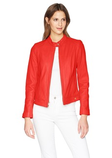 Cole Haan Women's Smooth Lamb Racer Jacket red Extra Small
