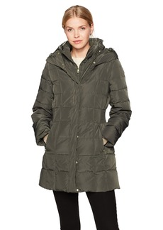 Cole Haan Women's Taffeta Down Coat with Bib Front and Dramatic Hood  S