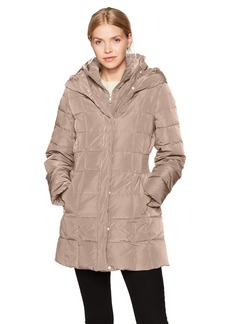 Cole Haan Women's Taffeta Down Coat with Bib Front and Dramatic Hood  XL