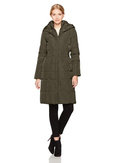 Cole Haan Women's Taffeta Quilted Down Coat with Elasticated Side Waist Detail  S