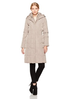 Cole Haan Women's Taffeta Quilted Down Coat with Elasticated Side Waist Detail  XS