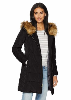 Cole Haan Women's Taffeta Quilted Down Coat with Hood  Extra Small