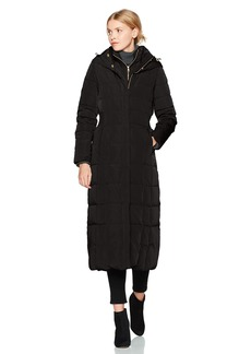 Cole Haan Women's Taffeta Quilted Long Down Coat  L