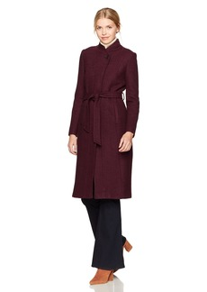 Cole Haan Women's Textured Wool Molded Collar Coat with Self Belt
