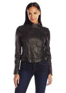 Cole Haan Women's Washed Leather Moto Jacket