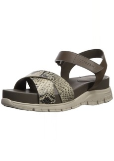 Cole Haan Women's Zerogrand Crisscross Sandal 8 Roccia Snake Print Leather-Morel Leather