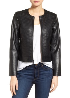 Cole Haan Woven Front Leather Jacket