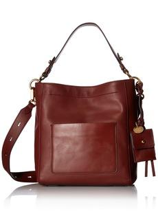 Cole Haan Zoe Small Bucket Crossbody Leather Bag fired brick