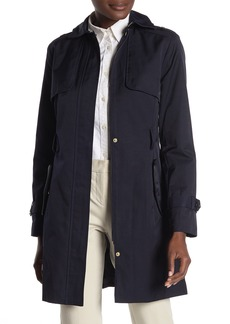 Cole Haan Detachable Hood Faux Leather Trim Trench Coat