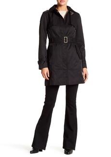 Cole Haan Detachable Hood Faux Leather Trim Trench Coat